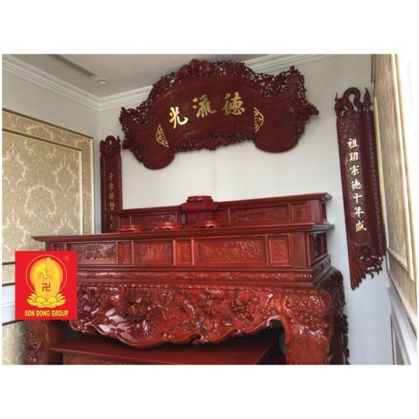 Bàn sập thờ hai cấp gỗ Gụ đep thờ gia tiên BST 12