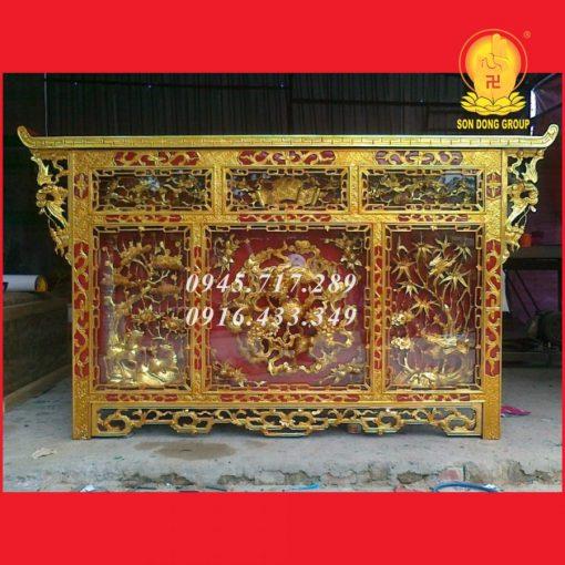 Bàn Thờ Chấp Tải Tam Sư Vờn Cầu Sơn Son Thếp Bạc CT16