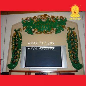 Bộ Lá Sen Câu Đối Tàu Chuối Thếp Vàng TC01