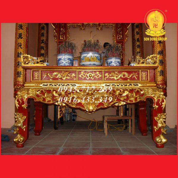 Sập thờ Gỗ Mít Sơn Son Thếp Bạc STM09