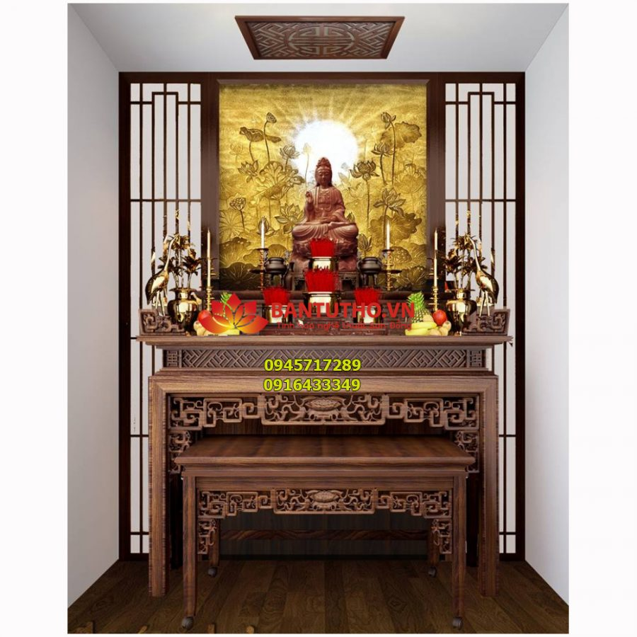 Bàn thờ gia tiên, bàn thờ Phật cho nhà hiện đai biệt thự BBT 06