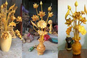 Hoa sen gỗ cực đẹp màu vàng để trang trí bàn thờ