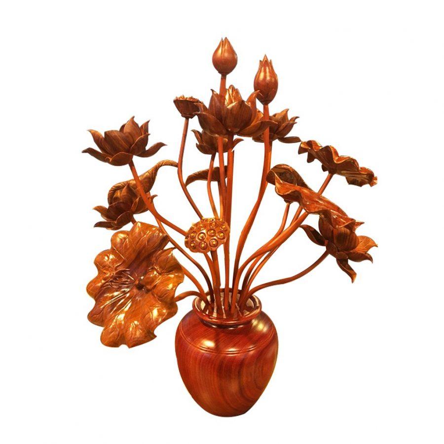 Hoa sen gỗ chất liệu gỗ mít màu đỏ nâu để trang trí bàn thờ gia tiên hoặc phòng khách hoặc nhà thờ họ
