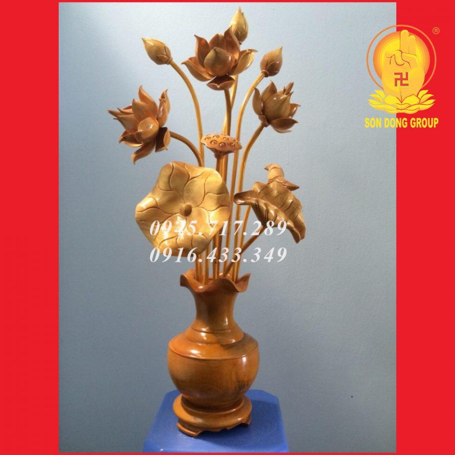 hoa sen gỗ mít đơn giản