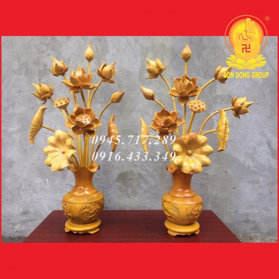 cặp bình hoa sen gỗ mít