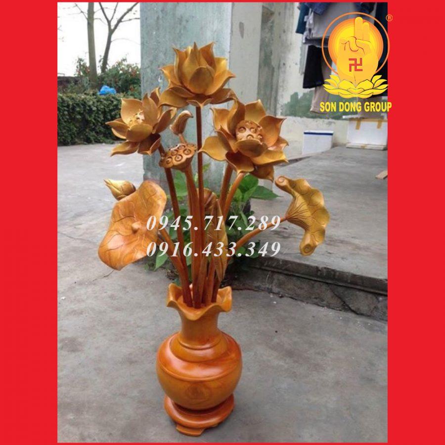 hoa sen gỗ mít bình trơn