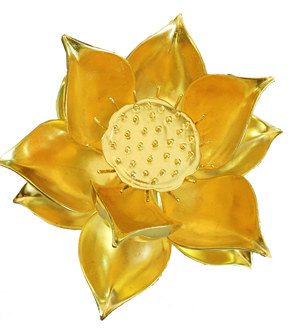 Hoa sen gỗ thếp vàng
