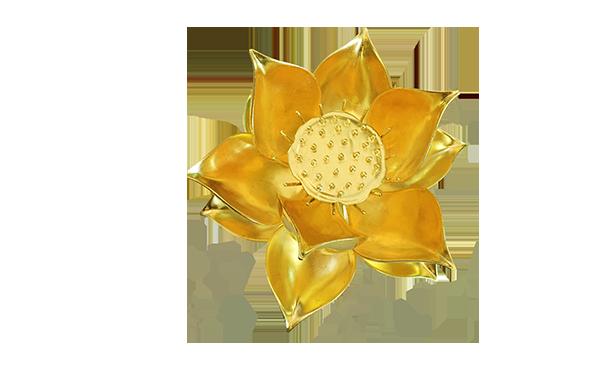 Banner hoa sen gỗ thếp vàng