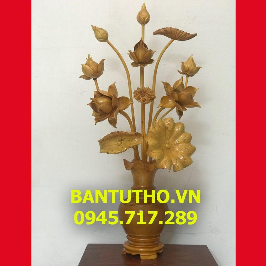 Hoa sen gỗ chất liệu gỗ mít  để bàn thờ gia tiên