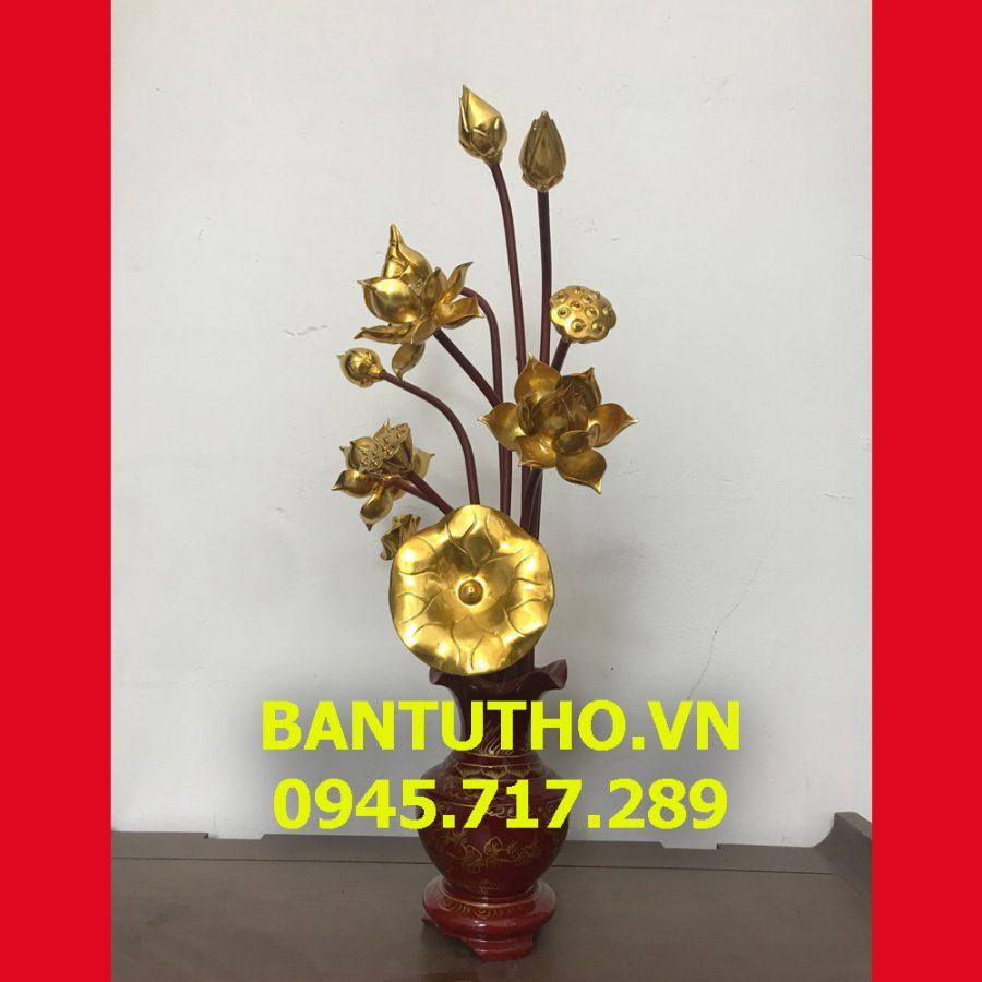 Hoa sen gỗ sơn son thếp vàng trang trí ban thờ phật