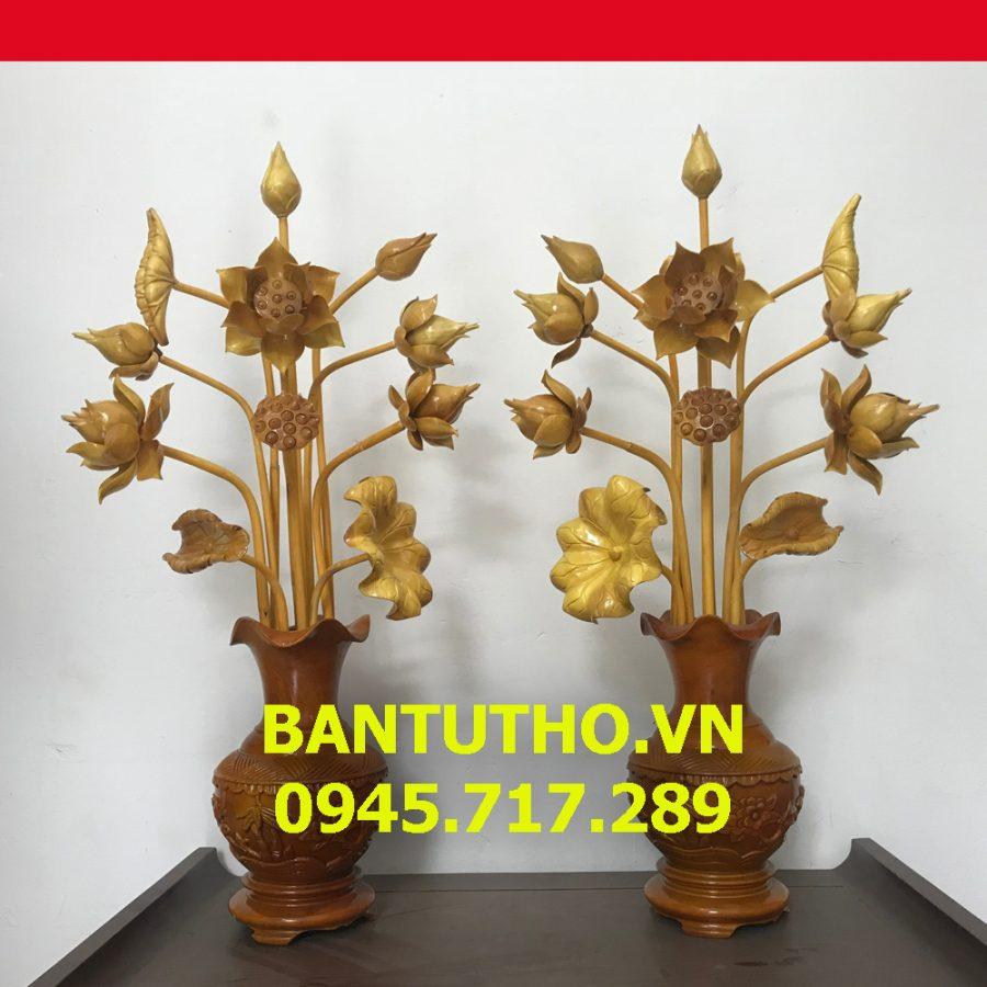 Cặp Hoa sen gỗ mộc bình trang trí bàn thờ