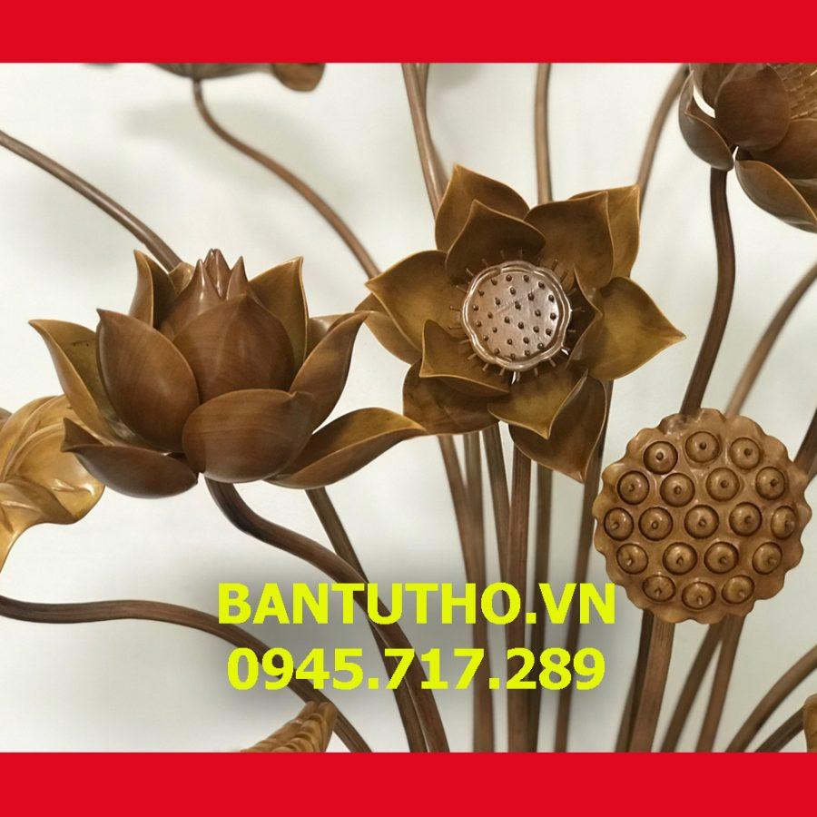 Hoa sen gỗ chất liệu gỗ mít phun PU tinh tế tới từng đường nét